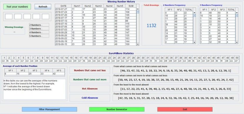 Software EuroMillions Play - number history