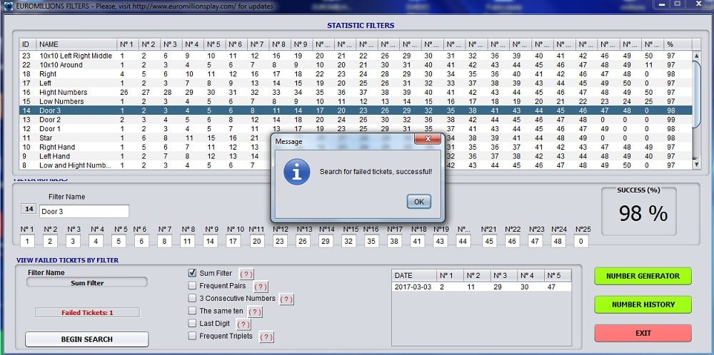 euromillions play software filters